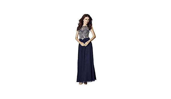 Tiffanys Illusion Prom Navy Perryn Chiffon Gown with Silver Crystals UK 18 (US 14): Amazon.co.uk: Clothing