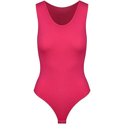 Krisli String Body Damen | Frauen Bodysuit | Damenbody in Pink XXL=44 | breite Träger | Ballett Trikot mit Verschluß-Haken | Unterzieh-Body in optimaler Passform | sportliches Top Shirt |Yoga Tanktop - Damen-tanz-trikot Pink