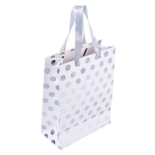 Amosfun 10 stücke Geschenk Papiertüten mit Tupfen Muster Band Griff Geschenk Taschen Einkaufstüten Süßigkeitstaschen für Kinder Geburtstag Hochzeit Party Supplies Gefälligkeiten (Silber)
