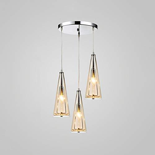 Xungzl Moderne E14 3-Licht Glas Pendelleuchten Leuchte Nordeuropa Einstellbare Kristall LED Decke Hängelampe Cafe Restaurant Wohnzimmer Kronleuchter (Color : Amber) - Amber Glühlampe Kronleuchter