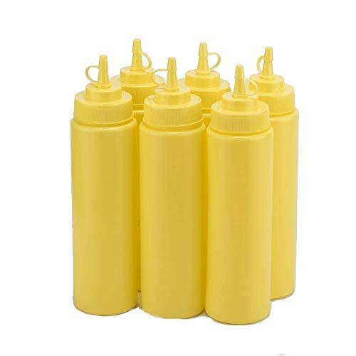 Buycrafty 6er Set Gelbe Quetschflaschen für Ketchup, Senf Mayo heiße Soßen Olivenöl Drizzler-set