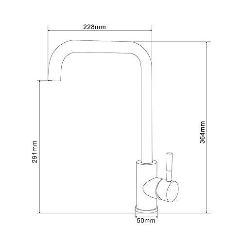 Homelody 360° drehbar Wasserhahn Küche Einhebelmischer Spültisch Armatur Küchenarmatur Spültischarmatur Spülbecken Wasserkran Mischbatterie Spüle für Küchen - 7