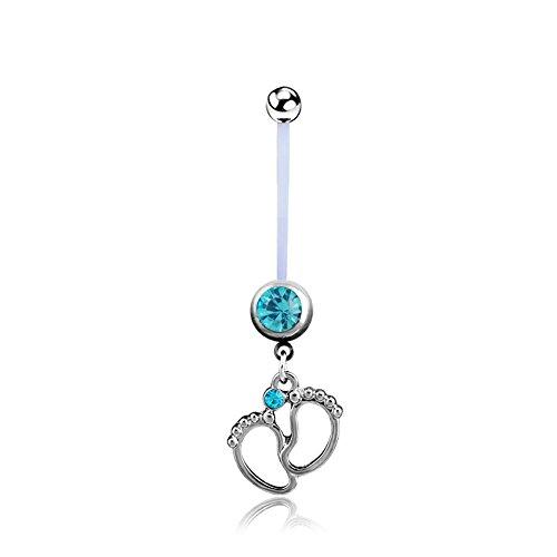 BODYA Silber blau Gem Baby Füße baumeln 14g Flexible BioFlex Mutterschaft Schwangerschaft schwanger Nabel Langhantel Bauchnabel Ring