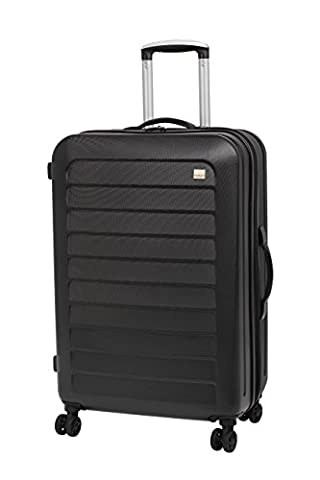 Members Chevron 70cm Hard Shell Expandable Four Wheel Spinner Suitcase Black