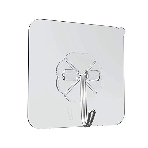 TOPmountain 5 Stück Wandhaken 10Kg Transparent wiederverwendbar Nahtlose Haken, wasserdicht und ölbeständig, Badezimmer Küche Schwerlast Selbstklebende Haken - Solid Surface Backsplash