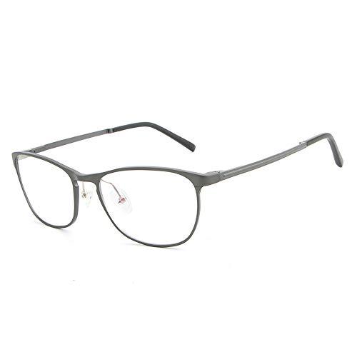 Gläser Aluminium Magnesium Ultra Plain Brille Mode Hipster Männer Brillengestell Brillen (Color : Dark Sliver, Size : Kostenlos)