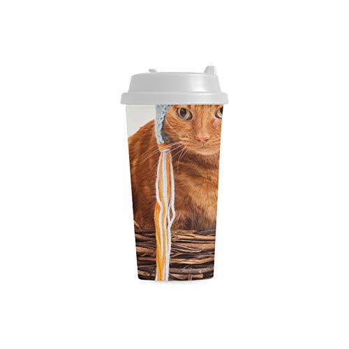 Cat Huhn Kostüm - Streifen Katzen lustiger Hut kundenspezifischer personalisierter Druck 16 Unze Doppelwand Plastikisolierte Sport Wasser Flaschen Schalen Pendler Reise Kaffeetassen für Studenten Frauen Milch Teetasse