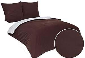 3 tlg flanell biber wende bettw sche set bettdeckenbezug 200x200 cm mit 2 kopfkissenbez ge. Black Bedroom Furniture Sets. Home Design Ideas