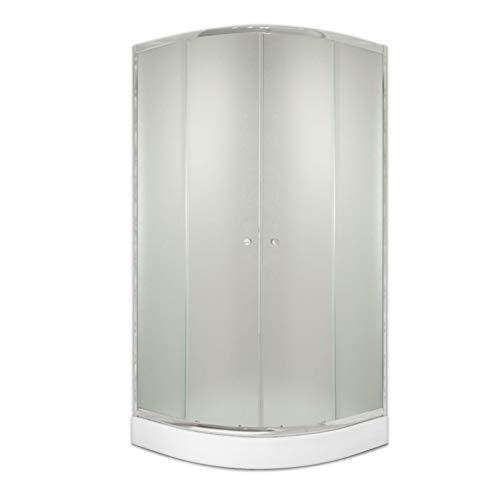 Duschkabine AQUABAD® STABILA R1 - Schiebetür Viertelkreis 90x90x184cm R55 mit Rahmen ESG Sicherheitsglas Milchglas Duschabtrennung