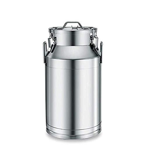 GAELLE Versiegelte Dosen 304 Edelstahlfass Mit Deckel Handelsgärungsbehälter Enzymfass Ölfass Milchfass Fass Reisfass Weinfass, Milchkanne Edelstahl (Size : 30L)