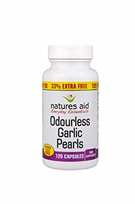 THREE PACKS of Natures Aid Promo Packs Garlic Pearls 120 Capsules 33% extra fill from Natures Aid