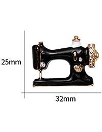ZHENZHIA Broche Costurera Negro Máquina de Coser Broche de Mujer Broches Esmalte Pins Denim Pin Insignia