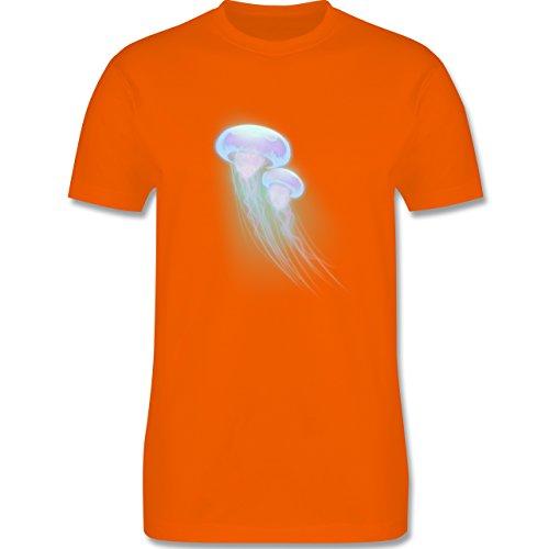 Sonstige Tiere - Quallen Unter Wasser - S - Orange - L190 - Herren T-Shirt Rundhals (Orange Quallen)