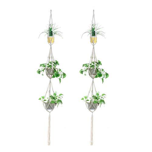 Piante sospese plant hangers macrame gancio pianta porta vasi da appendere corda di cotone per interno portafiori,72 pollici,set di 2 pezzi