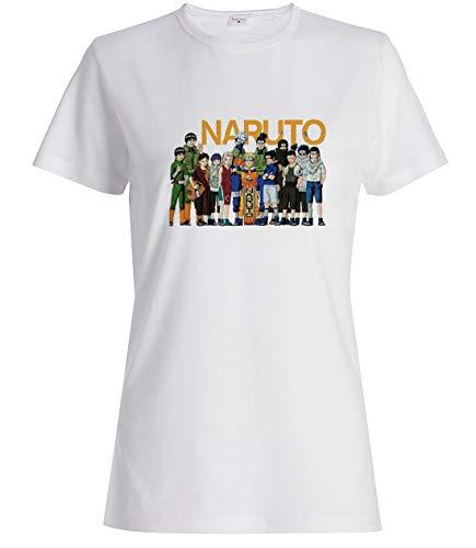 Damen Naruto Alle Charaktere Kunst T-Shirt Weiß XL