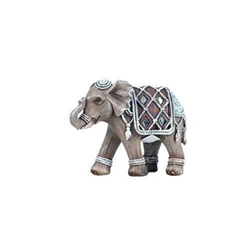 CAPRILO Figura Decorativa India de Resina Elefante Adornos y Esculturas. Animales. Decoración...