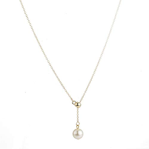 Kycut Fashion Women Necklace, Korean Daily Clavicle Chain Fashion Accessories Elongated Pearl Necklace(Gold)