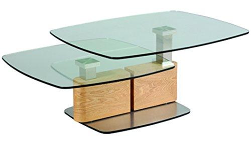 PEGANE Table Basse relevable en Verre trempé et MDF - Dim : L 137 x P 70 x Ht 41 cm