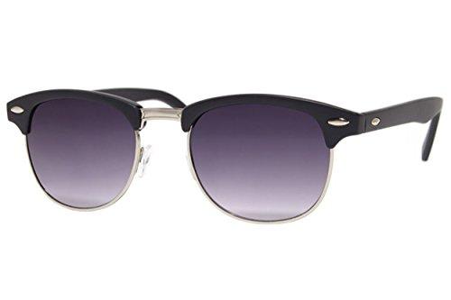 Cheapass Sonnenbrille Clubmaster Schwarz UV400 Gradient Gläser Grau Retro Vintage Rahmen Damen Herren