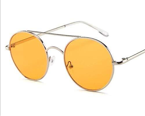 GY-HHHH Klassisches Retro-Outdoor-EssentialMetall runde Spiegel Sonnenbrille Trend Ocean Beam Sonnenbrille pink_yellow