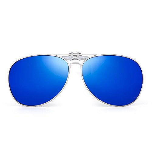 Retro Clip auf Flieger Sonnenbrillen Polarisiert Flip up Linsen Fahren Brille Herren(Silber/Polarisiertes Blau)