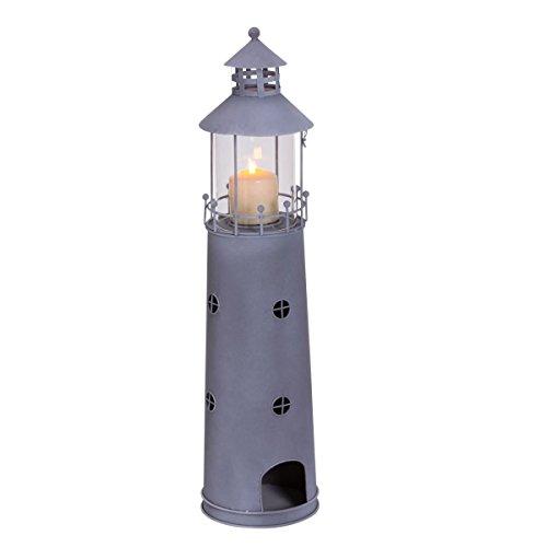 18 cm zur Dekoration Leuchtturm aus Metall Fischernetz  bemalt Teelicht ca
