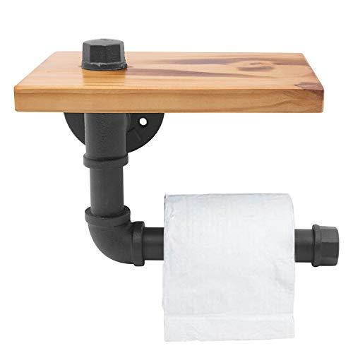 Industrielle Eisen-Rohr-Zahnstangen-Holz-Regale - an der Wand befestigte Klammer-Schmiedeeisen für Badezimmer