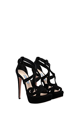 1XP804NERO Prada Sandale Femme Chamois Noir Noir