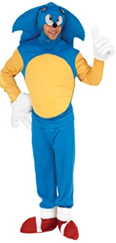 Halloween Sonic Kostüme (Fancy Ole - Herren Männer Kostüm Sonic the hedgehog mit Top, Hose, Überziehstiefeln, Kopfteil und Handschuhen, XL,)