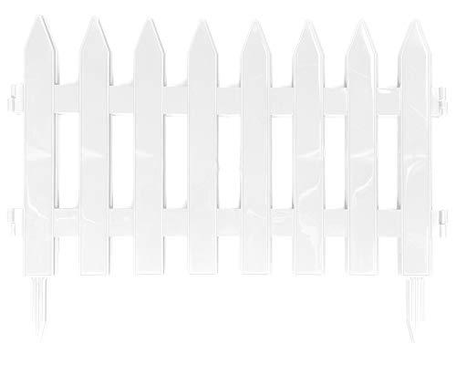 Ondis24 Beeteinfassung, Beetzaun, Gesamtlänge 3,20m, Zaun für Blumenbeet, natürlicher Schutz vor Tiere, Abgrenzung Gehweg, Garten, Dekoration, Outdoor (Weiß)