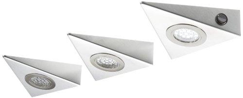 Rolux LED Dreiecksleuchten DF-1916 3-er-Set mit Edelstahlgehäuse 0150700109