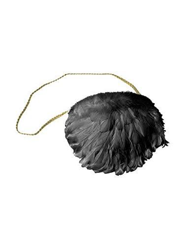 Luxuspiraten - Kostüm Accessoires Zubehör Engel Handtasche mit Federn geschmückt, 20x30cm, Handbag Angel with Feathers, perfekt für Halloween Karneval und Fasching, Schwarz