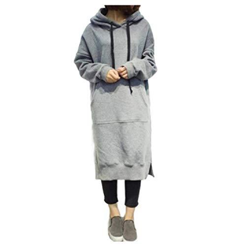 Energy Womens Loose Casual Sweatshirt Hooded Fleece Oversized Midi Dress Light Grey 5XL (Low Dress Blue High Prom)