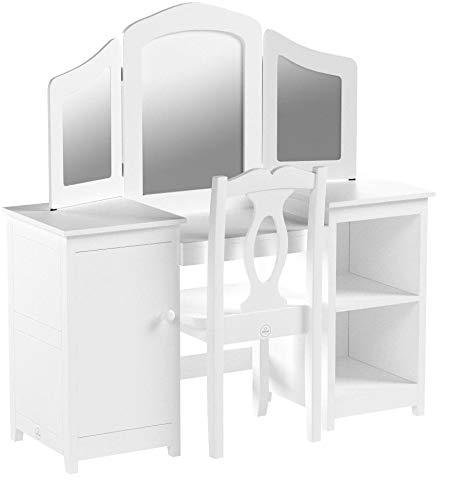 KidKraft 13018 Deluxe Frisier-/Schminktisch & Stuhl aus Holz für Kinder mit Spiegel und Stauraum – Kinderzimmer Möbel - 9