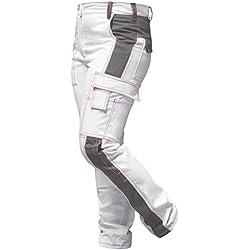 strongAnt® - Pantalon de Peintre élastique, Pantalon de Travail Femme Blanc, Poches pour genouillères, Fermeture éclair YKK + Bouton YKK - Blanc-Gris Couture Rose 38