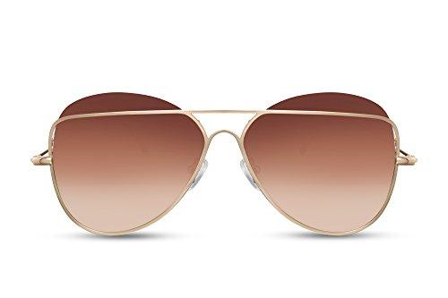e Braun Gold Fliegerbrille Pilotenbrille Designer-Brille UV-400 Verlaufsglas Metall Damen Frauen ()