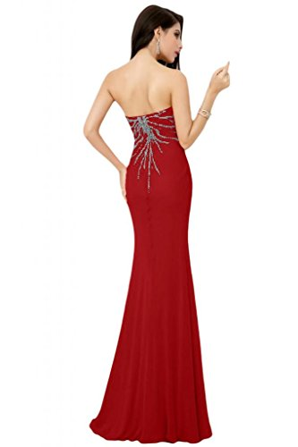 Sunvary sirena senza spalline Sweetheart Chiffon donna con tacco basso, Gowns Red