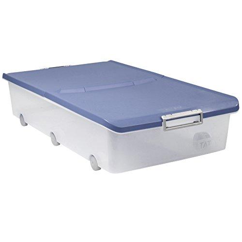 TATAY Caja de Almacenamiento Bajo Cama con Ruedas, 63 L de Capacidad, 45 x 78 x 18, Tapa Color Azul, Libre de Bpa