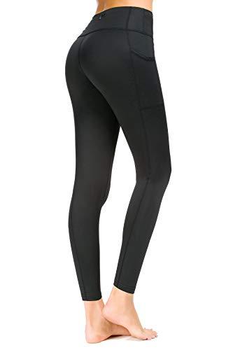 Munvot Sport Leggings Damen mit Taschen lang Sporthose Yogahose Laufhose Tights Fitnesshose Yoga Leggings für Damen Schwarz #03 - XL