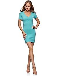 oodji Ultra Mujer Vestido de Silueta Ajustada con Escote en V