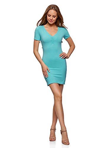 oodji Ultra Damen Enges Kleid mit V-Ausschnitt, Türkis, DE 42 / EU 44 / XL