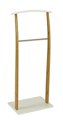 HAKU Möbel 14328 Herrendiener, Holz, Natur-Weiß-Edelstahloptik, 47 x 30 x 110