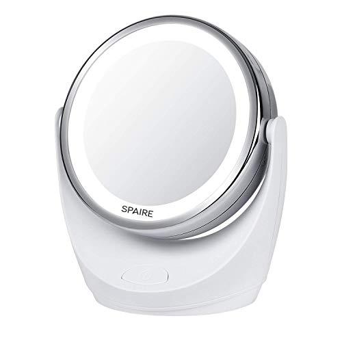 spaire Makeup Mirror LED Light avec grossissement 5x/1x, Miroir de Maquillage pivotant à 360 ° Double Face Rechargeable par USB Miroir Debout Pliable (Charge USB)