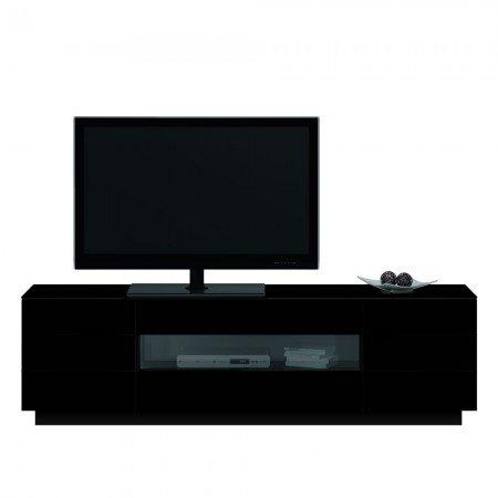 Jahnke TL 6203 HG-SW T.1-2 TV-Lowboard, E1-Spanplatten, melaminharzbeschichtet, ESG-Sicherheitsglas, Metall pulverbeschichtet, Aluminium eloxiert, hochglanz / schwarz, 200 x 41,5 x 59 cm