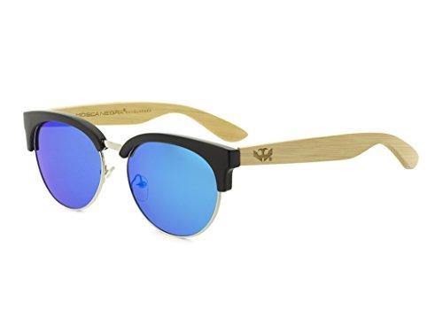 Gafas de madera MOSCA NEGRA modelo MIX METAL OMEGA BLUE Polarizadas - Wood Sunglasses