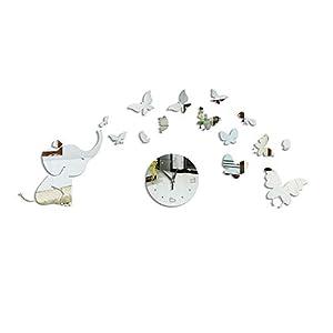 Wandtattoo Dekoration Netter Elefant Schmetterlinge Acryl Spiegel Oberfläche DIY 3D Wand-Aufkleber Babys Zimmer Kinder…