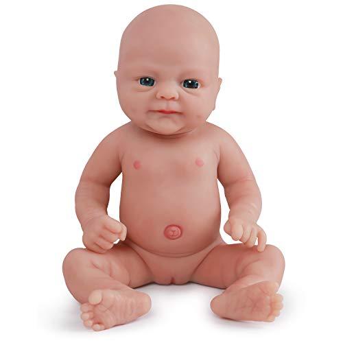 Vollence 36 cm Lebensechte Reborn Babypuppen, die echt Aussehen, PVC-frei, Echte realistische Baby Puppe mit vollgewichtetem Körper, handgefertigte süße Baby-Puppe mit Kleidung - Mädchen (Silikon-körper Reborn Baby Puppen)