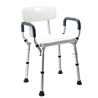 ybaymy Shower Stool Bench Bath Chair with Armrest Padded Seat Foldable Bathroom Stool Seat Ergonomic Aid for Elderly Disabled Non-Slip White