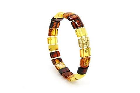 Véritable ambre de la Baltique Naturel Multicolore stretch Bracelet pour femme