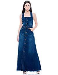 fa65ccfdfb4e J Aimè Abito da Donna Lungo in Jeans Denim Blue Bretelle Incrociate sul  Retro
